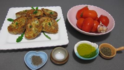 Ingrédients pour la recette : Tartines de pain aux tomates