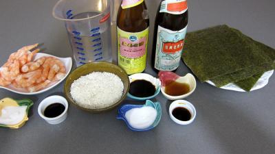 Ingrédients pour la recette : Sushis aux gambas