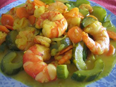 Recette Assiette de crevettes au curcuma