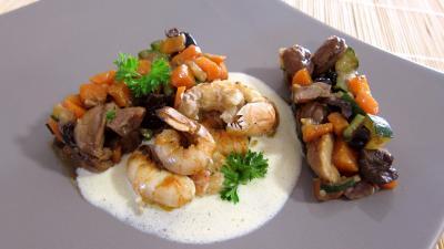 plat complet : Assiette de langoustines et sa sauce au floc de Gascogne