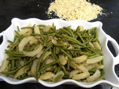Crumble aux haricots verts et sa crème d'ail - 12.2