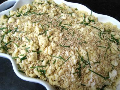 Crumble aux haricots verts et sa crème d'ail - 13.3