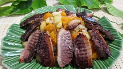 Cuisson au grill : Saladier de citrouille et son magret en salade