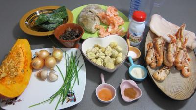 Ingrédients pour la recette : Crustacés et poisson en marmite
