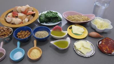 Ingrédients pour la recette : Chorizo, quinoa et coquilles Saint-Jacques