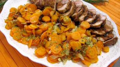Recette Mignon de porc aux carottes et sa sauce aux clémentines