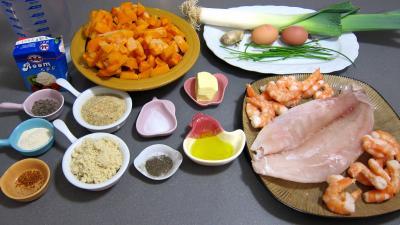 Ingrédients pour la recette : Médaillons de perche et sa crème de légumes