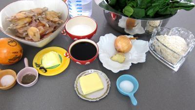 Ingrédients pour la recette : Grenouilles caramélisées aux épinards