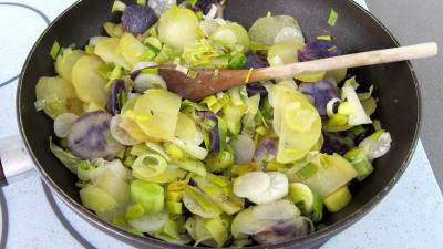 Vitelottes et légumes aux filets de dinde panés - 9.3