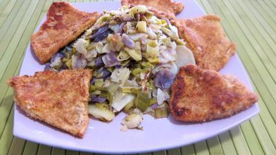 Recette Vitelottes et légumes aux filets de dinde panés