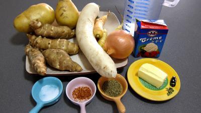 Ingrédients pour la recette : Topinambours et sa soupe facile