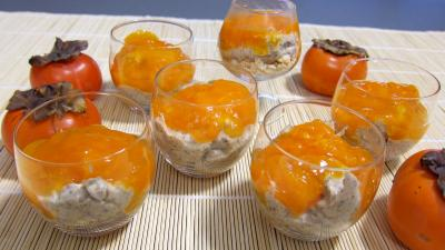 Recette Verrines de kakis en trifle aux amandes