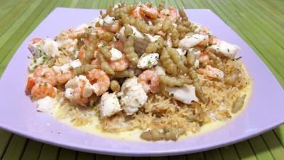 plat complet : Assiette de crones et églefin en risotto