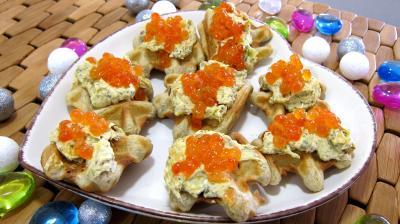 Recette assiette de gaufrettes aux oeufs de saumon
