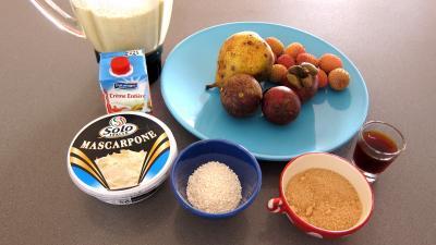 Ingrédients pour la recette : Crêpes et son mascarpone aux mangoustans et tapioca