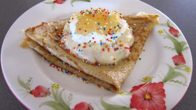 Recette Assiette avec sa crêpe et son mascarpone aux mangoustans et tapioca