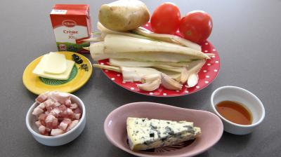 Ingrédients pour la recette : Côtes de blettes au bleu d'Auvergne