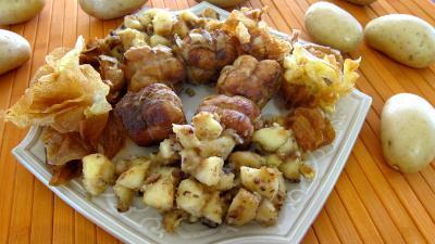 plat complet : Plat de paupiettes de dinde aux pommes et aux chips