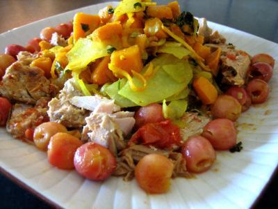 thon rouge : Plat de thon au chou-rave et cerises