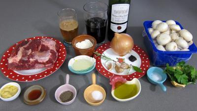 Ingrédients pour la recette : Ragoût de boeuf aux champignons à la juive