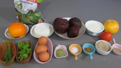 Ingrédients pour la recette : Mille-feuilles de betteraves au fromage frais de chèvre