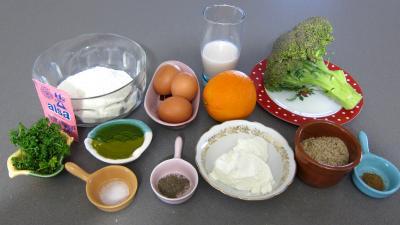 Ingrédients pour la recette : Cubes de cake aux brocolis et ricotta