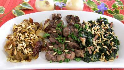 Recette Compotée d'oignons et d'épinards et son rognon de veau