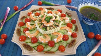 crustacés : Assiette de salade de gambas