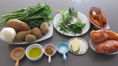 Ingrédients pour la recette : Broutes et blancs de poulet en soupe
