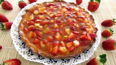 Recette Ricotta aux fraises en tarte