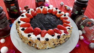 Recette Gâteau aux fromages à la purée fraises, myrtilles, cassis Vitabio