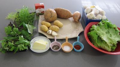 Ingrédients pour la recette : Fines herbes et légumes en velouté