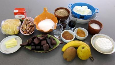Ingrédients pour la recette : Tarte au chèvre et chocolat