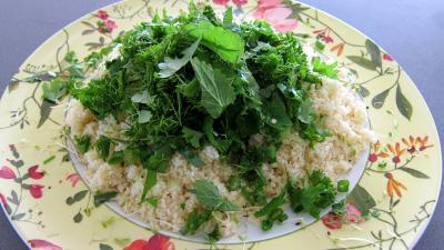 Couscous, légumes, fines herbes et gambas - 6.2