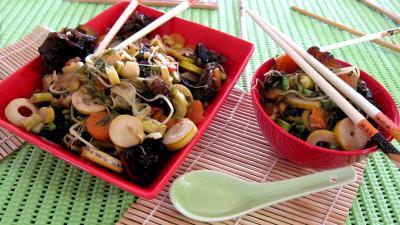 Recette Germes de soja et pousses de bambou au gingembre