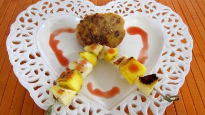 sirop d'érable : Assiette de pain perdu et ses brochettes à la plancha