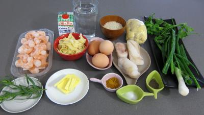 Ingrédients pour la recette : Quiche aux crevettes et à la lotte