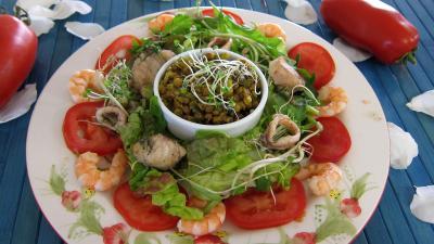 Image : Assiette de salade tiède de poisson
