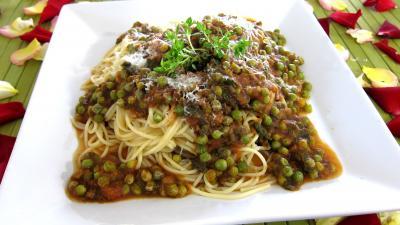 Recette Assiette de spaghettis aux petits pois