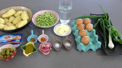 Ingrédients pour la recette : Frittata aux pommes de terre et petits pois