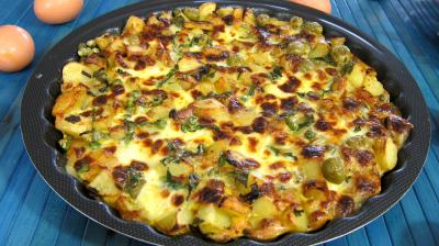 plat complet : Assiette de frittata aux pommes de terre et petits pois