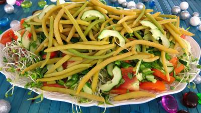 haricots beurre : Assiette de salade haricots beurre du jardin