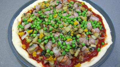 Pizza aux petits pois et aubergines - 9.3