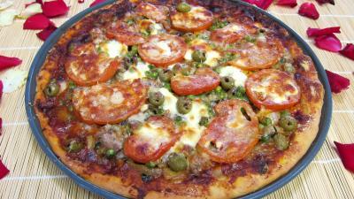 Recette Pizza aux petits pois et aubergines