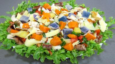 Cuisson à la plancha : Assiette de salade de pommes de terre bleue d'Artois ou Valfi