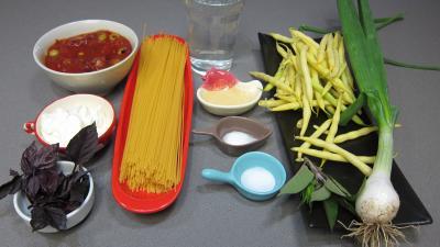 Ingrédients pour la recette : Pâtes spaghettis aux haricots beurre