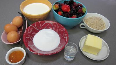 Ingrédients pour la recette : Crème glacée aux fruits rouges