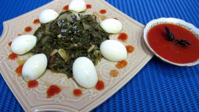 colombo épices : Plat de blettes et oseille aux oeufs durs