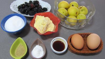 Ingrédients pour la recette : Cupcakes aux nashis et mûres