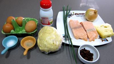 Ingrédients pour la recette : Quiche au saumon